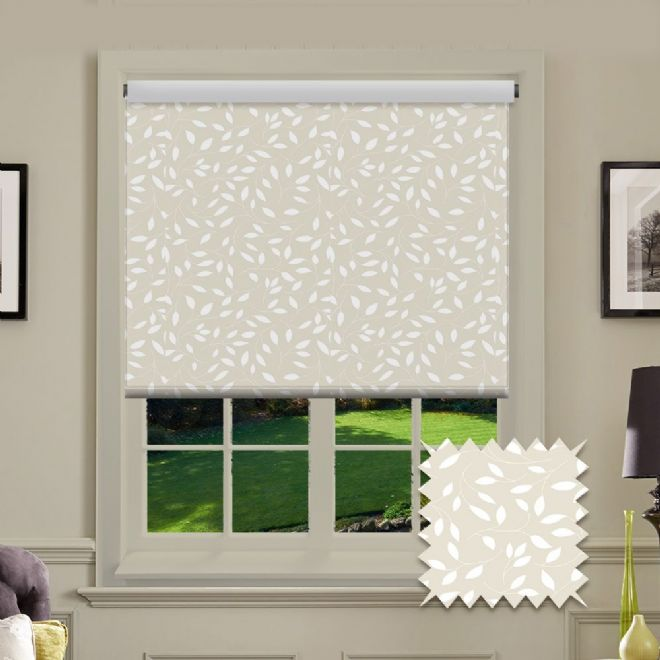 Premium Roller in Chatsworth Cream Patterned Fabric - Just Blinds
